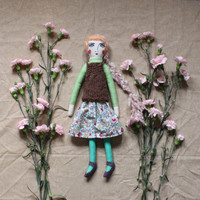Heirloom Doll Girl - Colorful Rag Doll with Cable Knit Top, Floral Liberty Skirt and Shoes - Art Doll by Wildflower Dream Dolls