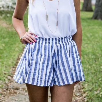 Sunny Navy Striped Shorts in Sailing Away