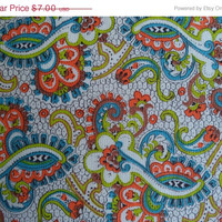 "ON SALE Paisley fabric/ vintage psychedelic paisley print/ cotton blend/ sold by the yard/ 35 1/8"" wide"
