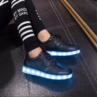 Black Light Up LED shoes - Vegan Leather