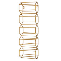 "Gold Metal 5 Bottle ""Wine"" Rack - Hanging"