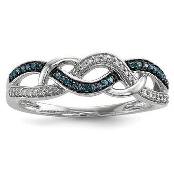 Blue & White Diamond 5mm Woven Tapered Ring in Sterling Silver