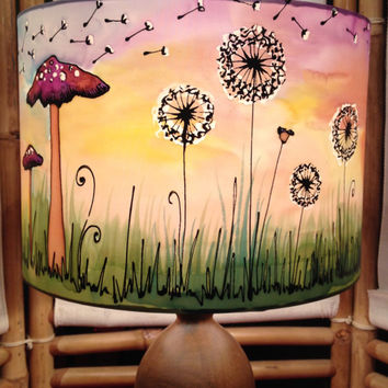 Sunset Poppy, Mushroom, Dandelion, Hand Silk Painted Lamp Shade, 30cm Drum, Made To Order.