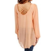 Peach Long Sleeve X Back Top