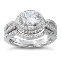 Sterling Silver Halo Engagement & CZ Wedding Band Bridal Ring Set - 2 Rings