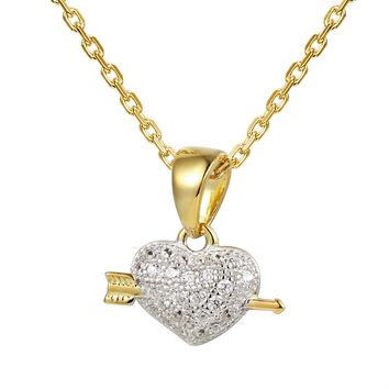 Mini Heart & Arrow 14k Gold Finish Pendant Chain Valentine's