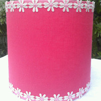 Lamp Shade Drum Pink Watermelon Cotton Linen  Pink Grosgrain White and Pink Daisy Applique Trim Designer Custom Hanmade Brass Clip Top Frame