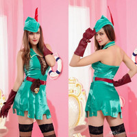 2015 Hot Halloween Party Cosplay Anime Costume Role Playing Robin Hood Costume Sexy Clothing Suit Theme Costume Dress Skirt A19