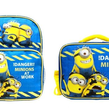 "Minions !Danger! Boys & Girls 10"" Canvas Blue Backpack w/Insulated Lunch Bag"