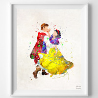 Snow White Print, Disney Print, Disney Princess, Flroian Poster, Princess, Watercolor, Painting, Wall Art, Illustration, Christmas Gift