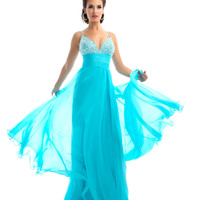 Mac Duggal Prom 2013 - Aqua Chiffon Gown With Rhinestone Bust - Unique Vintage - Cocktail, Pinup, Holiday & Prom Dresses.