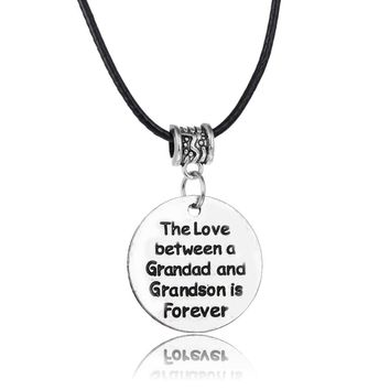 Love Between Grandad Grandson Pendant Leather Rope Chain Necklace Family Men Boys Jewelry For Grandfather Gifts Collier Collar