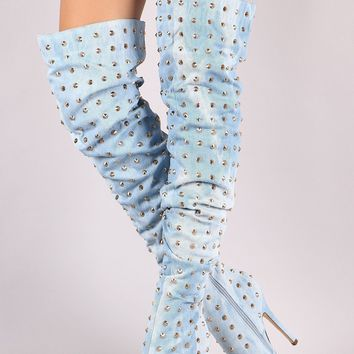 Liliana Studded Spike Denim Slouchy Over-The-Knee Boots
