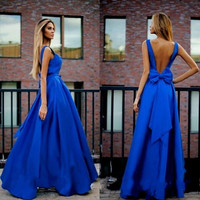 Sexy 2016 Blue V Neck Long Chiffon Prom Dresses Mermaid Arabic Dubai Stain Bow Cocktail Dress Formal Evening Party Gowns EF36