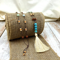 Bohemian Style Necklace, Boho Jewelry, Tassel Necklace, Hippie Jewelry, Yoga Inspired, Rudraksha Necklace, Beach Jewelry