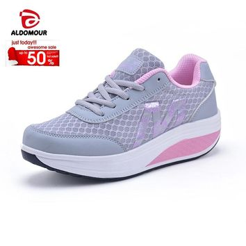 ALDOMOUR Fitness Shoes Women's Sport for Women Swing Wedges platform zapatos mujer canvas trainers tenis Toning Shoes