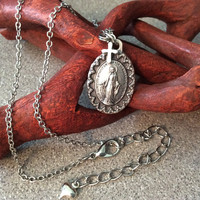 Miraculous Medal Virgin Mary Necklace Silver Catholic Medal Trendy Inspirational
