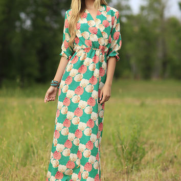 Bridget Floral Maxi Dress Green