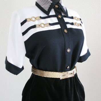 Vintage womens baroque nautical shirt with metal hardware