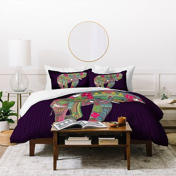 Sharon Turner Painted Elephant Purple Duvet Cover