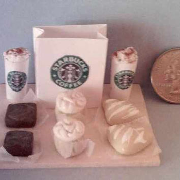 Barbie Sized Starbucks Food Board Set Frosted Cupcakes and Scones