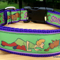back in stock! - Collar & leash SET- Scooby Doo on Purple webbing. Choose YOUR size.