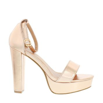 Ankle Strap Chunky Heel Pump (ROSE GOLD)