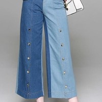 Color Contrast Wide Leg Jeans