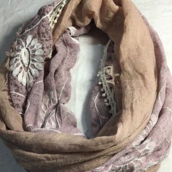 Antique Vintage Style Sheer Embroidered Infinity Scarf