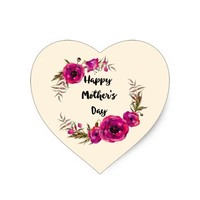 Fuchsia Poppies Floral Wreath Happy Mother's Day Heart Sticker