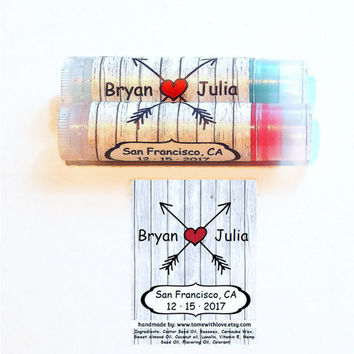 10 Country Wedding Lip Balm Favors  - Wedding favors for: Rustic Weddings, Wedding Anniversaries, Bridal Showers, custom wedding label, A98