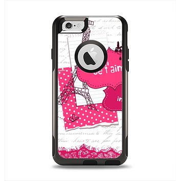 The Paris Pink Illustration Apple iPhone 6 Otterbox Commuter Case Skin Set