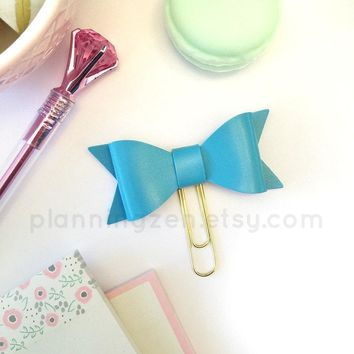 Turquoise Bow Planner Clip Faux Leather
