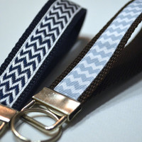 Wristlet Key Fob / Keychain | Navy Blue and Baby Blue Chevron |