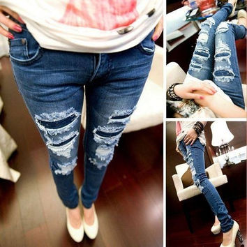 Denim Jeans Women New  Fashion Pencil Pants Vintage Hole Ripped Skinny Jeans Slim Fit Lady trousers female S M L XL size = 5708430593