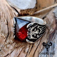 Red zirconia stone with eagle sterling silver ring
