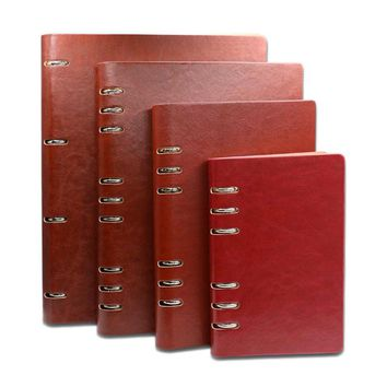 Business Office A4 B5 A5 A6 A7 PU Leather Bound Notebook Cover Black/Wine/Blue/Brown Spiral Notebooks Lined Papers