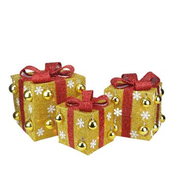 Set of 3 Gold Tinsel Gift Boxes with Red Bows Lighted Christmas Yard Art Decorations