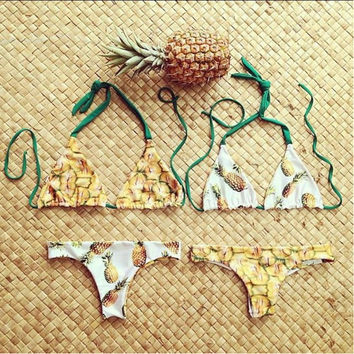 Two sides can wear Brazilian Swimwear Reversible Bikinis Sexy Women Swimsuit Pineapple Printed Biquinis Halter Bathing Suit