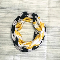 Black & Yellow Chevron Jersey Knit Infinity Scarf