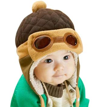 Cool Baby Boy Hat Winter Toddlers Girl Infant Pilot Cap Warm Hat Beanie