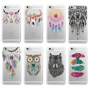 *Boho Dream Catcher Wolf Feather skull Soft TPU Phone Case Funda For iPhone 7Plus 7 6 6S 5 5S SE 8 8Plus X Samsung S8 S8P