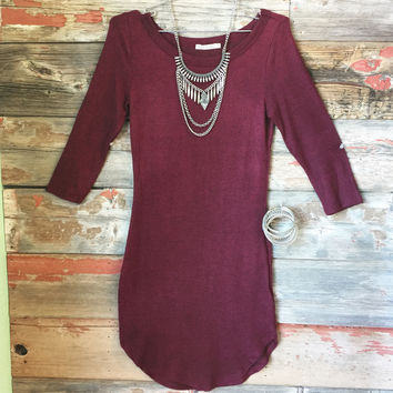 Fall Fashion Tunic Dress: Burgundy