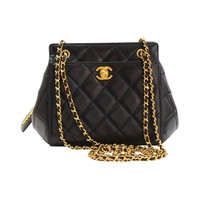 1990s Chanel Black Quilted Lambskin CC Shoulder Bag