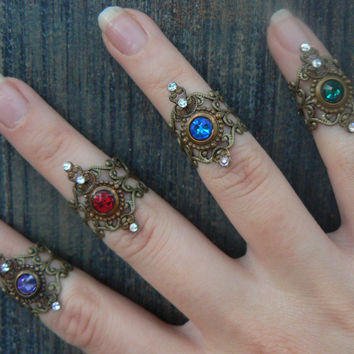 Swarovski midi rings  CHOOSE ONE armor ring knuckle ring nail ring claw ring  tip ring  vampire goth victorian moon goddess pagan boho gypsy