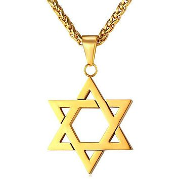 HCXX Jewish Jewelry Magen Star of David Pendant Necklace