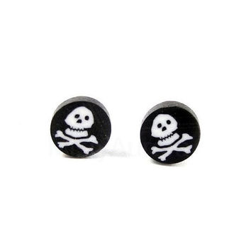 Skull Earrings Halloween Jewelry Tiny Black Studs Spooky Pirate Skull Free Shipping Etsy