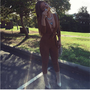2016 Autumn Women Sexy Rompers Brown Suede One Piece Outfits Deep V neck Full Sleeve Bodycon Long Pants Women Brown Jumpsuits