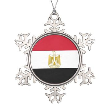 Snowflake Ornament with Egypt Flag