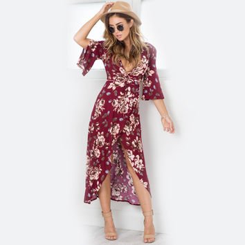 New  Summer Floral Print Wine Red Women Dress Sexy V-Neck Half Sleeve Long Maxi Beach Dress Front Slit Plus Size